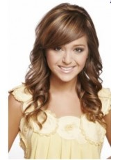 Honey Fashion Trend Side Bangs Long Deep Wave Natural Cheap Synthetic Wigs