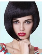 Charming Chic Hair Cut Short Black Straight Full Bangs Hairstyle Synthetic Wigs