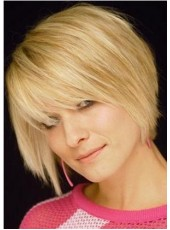 Short Straight Gold Fashion Oblique Bangs Hairstyle Synthetic Hair Wigs