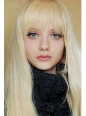 Blonde Lovely Long Natural Silky Straight Full Bangs Indian Virgin Hair Wigs