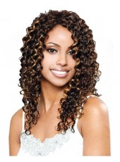 Wonderful Long Curly Brown African American Human Hair Lace Wigs For Black Women