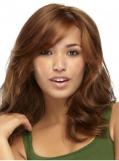 High Quality Soft Brown Deep Wave Oblique Bangs Synthetic Wigs About 18 Inches