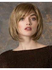 Amazing High Quality Short Brown Straight Oblique Bangs Hairstyle Synthetic Wigs