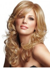 Charming Long Wavy Side Oblique Bangs Hairstyle Glueless Lace Front Synthetic Popular Brown Wig About 24 Inches