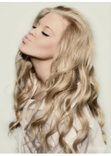 "Top Quality Swiss Lace Front Long 24"" Blonde Deep Wave Indian Virgin Hair Soft Wigs"