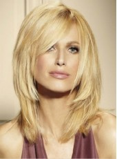 Indian Virgin Hair New Arrival Long Ombre Blonde Loose Wave Oblique Bangs Wigs