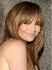 Custom Jennifer Lopez Long Brown Silky Straight Full Bangs Indian Virgin Hair Wigs