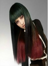 "Custom 22"" Regular Bangs Long Silky Straight Black and Red 100% Human Hair Wigs"
