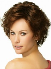 "8"" Polish Brown Short Loose Wave Side Bangs Hairstyle 100% Human Hair Prom Wigs"
