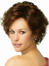 "8"" Polish Brown Short Loose Wave Side Bangs Hairstyle 100% Human Hair Prom Wigs"