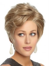 Glueless Lace Front Mix Color Short Natural Wave Hairstyle Human Remy Hair Wigs