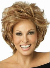 Celebrity Raquel Welch Short Brown Loose Wave Hairstyle 100% Human Hair Wigs