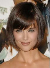 Custom Short Oblique Bangs Brown Straight Bob Hairstyle 100% Human Hair Cheap Wigs