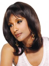 Natural Black Full Bangs Medium 'C' Hairstyle Human Hair Wigs For Black Women