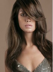 Charming 130% Density Long Oblique Bangs Dark Brown Loose Wave Layer Wigs