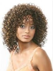 Custom African American Synthetic Hair Curly Hairstyle Long Wigs For Black Women