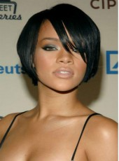 Rihanna Hairstyle African American Human Hair Short Bangs Wigs For Black Women