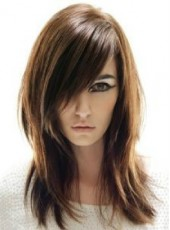 Elegant Long Layered Charming Brown Straight Capless Best Quality Synthetic Wig