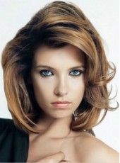 Dark Brown Medium Wavy Venation Hairstyle Top Quality Full Lace 100% Human Remy Hair Wig About 14 Inches