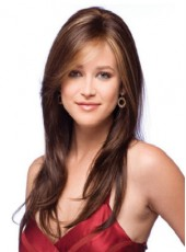 Top Quality Synthetic Hair Elegant Mixed Color Long Straight Venation Hairstyle Capless Wig About 22 Inches