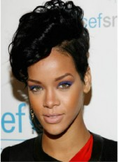 Custom Rihanna's Short Curly African American Human Hair Lace Wigs For Black Women