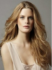 Full Lace Elegant Long Golden Sexy Wavy Bouncy Hairstyle 100% Human Hair Wig About 24 Inches
