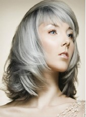 Custom High Density Synthetic Hair Medium Gray Wavy Bouncy Hairstyle Capless Top Quality Wig