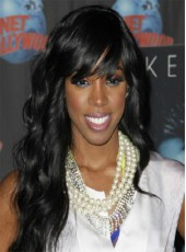 120% African American Synthetic Hair Density Celebrity Kelly Rowland Natural Black Long Wavy Capless Wig About 22 Inches