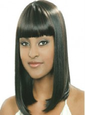 High Density African American Synthetic Hair Natural Black Regularity Bangs Medium Straight Hairstyle Capless Wig