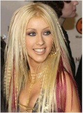 Celebrity Christina Long Mix Color Curly And Straight Hairstyle Monofilament Top Lace Wigs