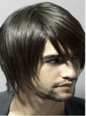 Polish Natural Black Short Handsome Men's Straight Venation Hairstyle Lace Front Synthetic Wig