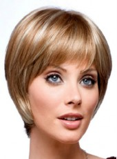 Fashion Trendy Mixed Color Short Full Oblique Bangs Straight Venation Hairstyle Capless Synthetic Top Quality Wig