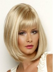 Impressive Popular Medium Golden Bob Hairstyle Capless Synthetic Top Quality Wig