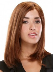 Unique Honorable Medium Coralline Red Straight Venation Hairstyle Lace Front Synthetic Wig About 16 Inches