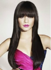 About 26 Inches Natural Black Synthetic Hair Celebrity Vanessa Hudgens Straight Full Bangs Hairstyle Capless Wig