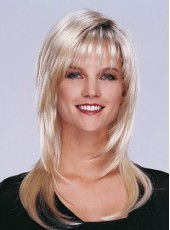 Popular Long Bangs Charming White Wavy Bouncy Hairstyle Capless Synthetic Wig About 20 Inches