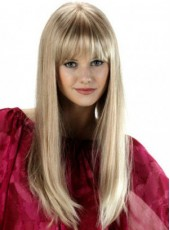 120% Synthetic Hair Density Top Quality Elegant Long Attractive Straight Full Bangs Hairstyle Capless Wig