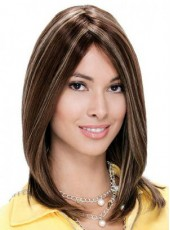 Unique Medium Shoulder Mixed Color Straight Venation Hairstyle Capless Synthetic Top Quality Wig