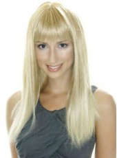 Synthetic Hair About 24 Inches Impressive Elegant Long Golden Straight Capless Top Quality Wig