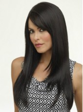 Attractive Natural Black African American Synthetic Hair Swiss Lace Front Long Straight Side Bangs Wig About 24 Inches
