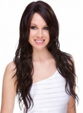 About 26 Inches Natural Black Long Charming Wavy Side Bangs Hairstyle Lace Front Synthetic Submissive Wig