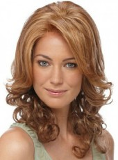 Custom Coralline Brown Medium Wavy Side Bangs Hairstyle Lace Front Top Quality Wig About 16 Inches