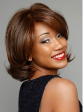 Custom Bright Brown Short Wavy Bouncy Venation Hairstyle Lace Front Synthetic Top Quality Wig About 10 Inches