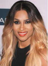 Celebrity Ciara Elegant Long Gradient Color Wavy Hairstyle Full Lace Human Hair Wig About 22 Inches