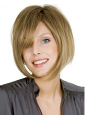 New Arrival Short Brown Oblique Bangs Bob Venation Hairstyle Capless Synthetic Wig About 10 Inches