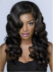 Vintage Classical Popular Black Long Curly Lace Front Wig 100% Human Hair About 24 Inches