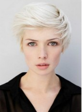 Custom Top Quality White Short Side Bangs Venation Hairstyle Capless Synthetic Popular Wig About 8 Inches