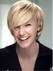 Custom Short Golden Oblique Bangs Straight Hairstyle Capless Top Quality Synthetic Popular Wig About 10 Inches