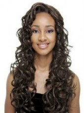 Custom Natural Black African American Hair Swiss Lace Front Long Wavy Side Bangs Hairstyle Top Quality Synthetic Wig