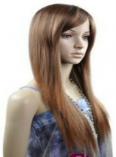 Custom Top Quality Long Brown Submissive Straight Side Bangs Hairstyle Capless Synthetic Cheap Wig About 20 Inches